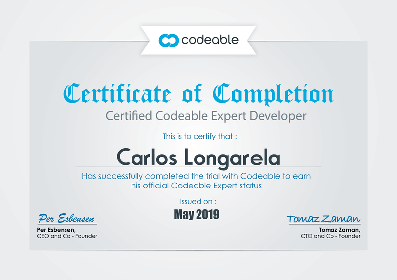 Carlos Longarela, Codeable Expert Certificate of Completion