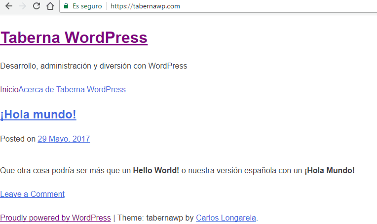 Taberna WordPress Mayo 2017