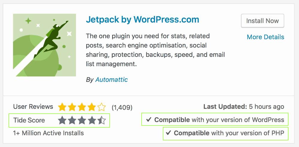 Ejemplo puntuación Tide del plugin Jetpack