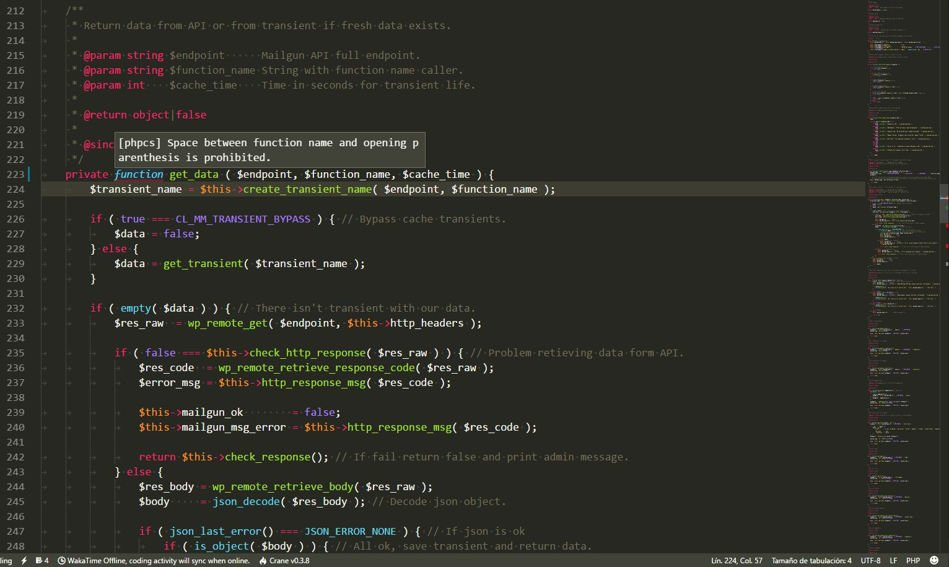 Visual Studio Code con phpcs