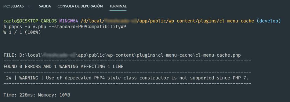 Error PHP consola