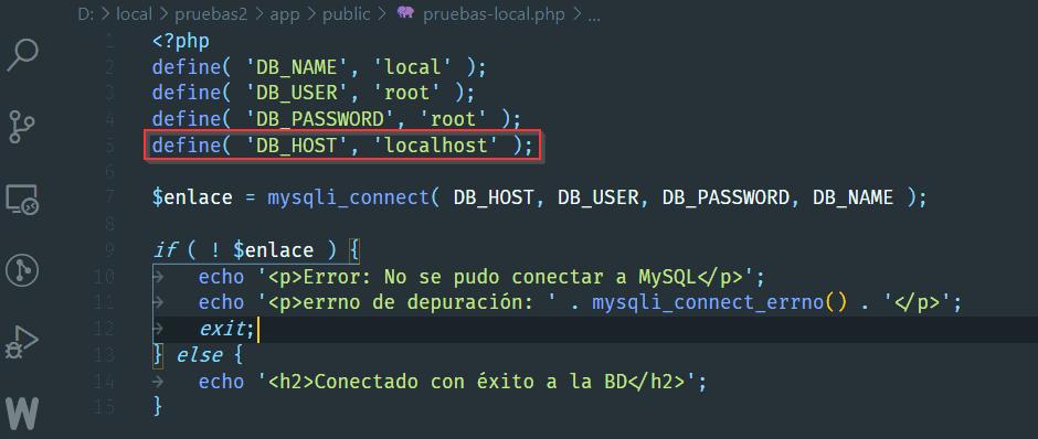 Conexión DB con localhost