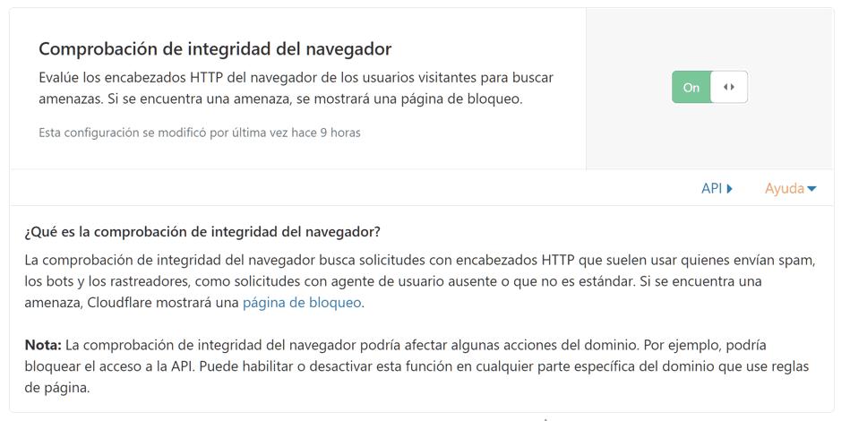 Comprobación de integridad del navegador en Cloudflare