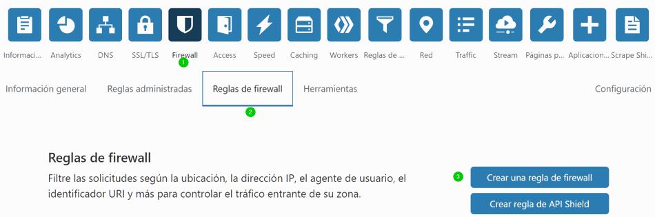 Crear regla de firewall en Cloudflare
