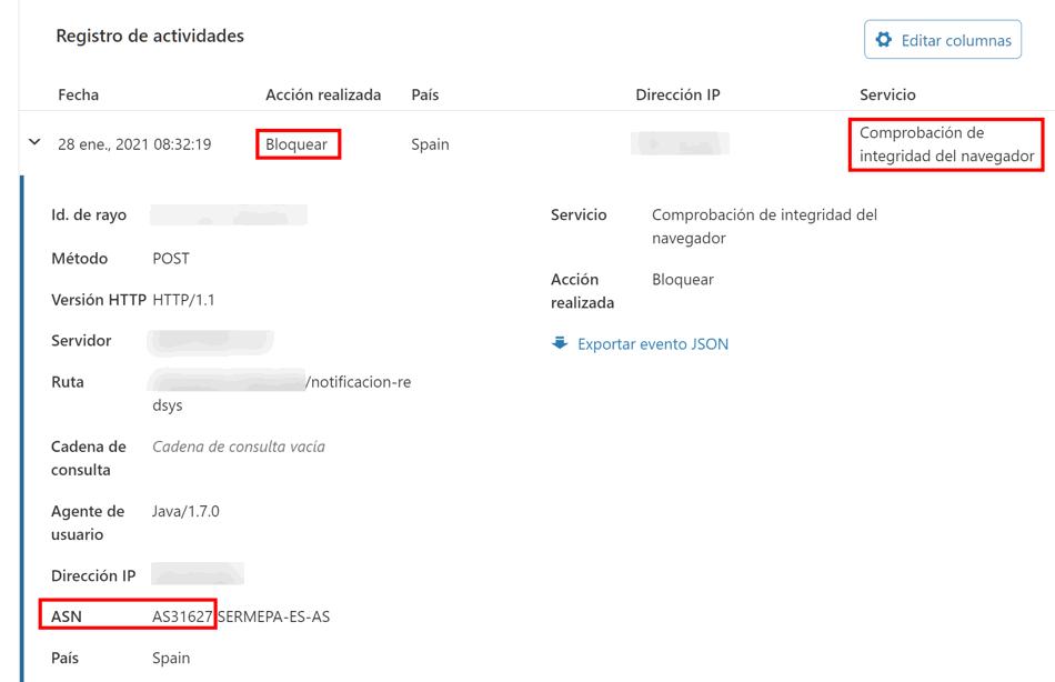 Petición Redsys bloqueda por el firewall de Cloudflare