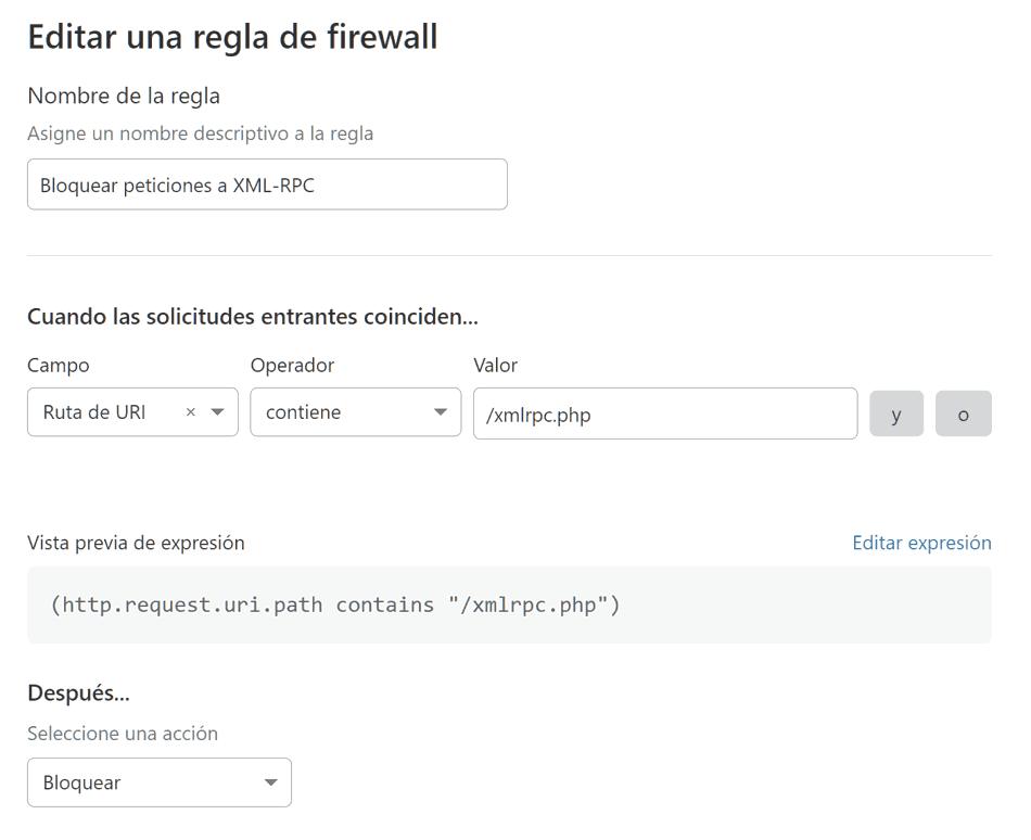 Regla Cloudflare bloquear peticiones XML-RPC