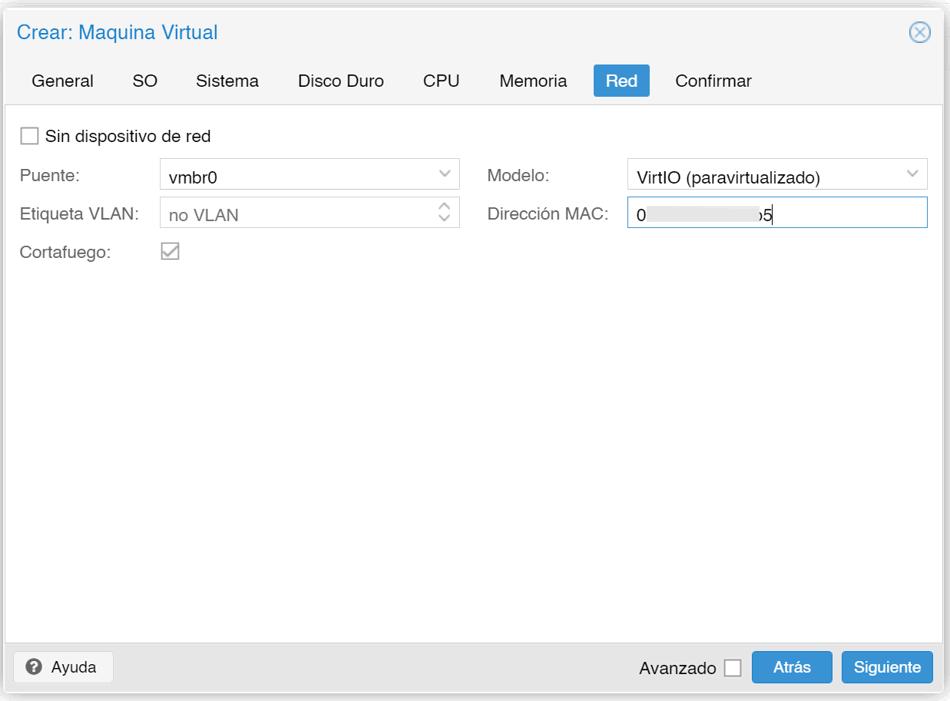 Configuración de red VM en Proxmox v6