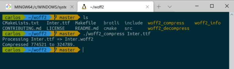ttf to woff2 conversion