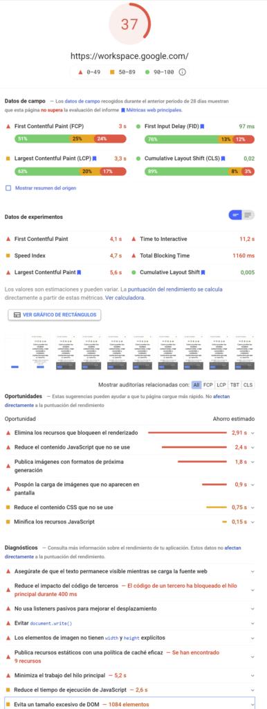 PageSpeed Google Workspace