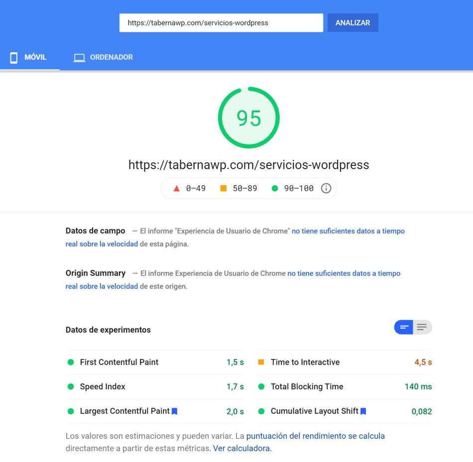 Servicios WordPress medición mobile