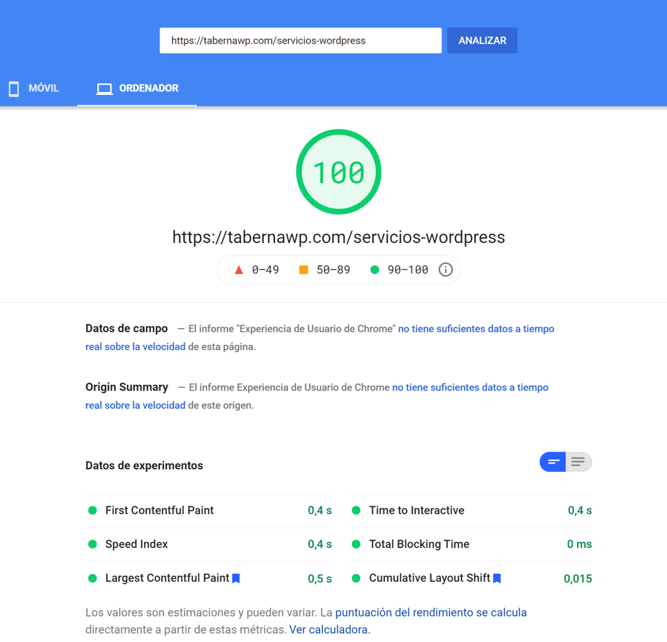 Servicios WordPress medición ordenador