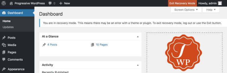 WordPress admin in recovery mode