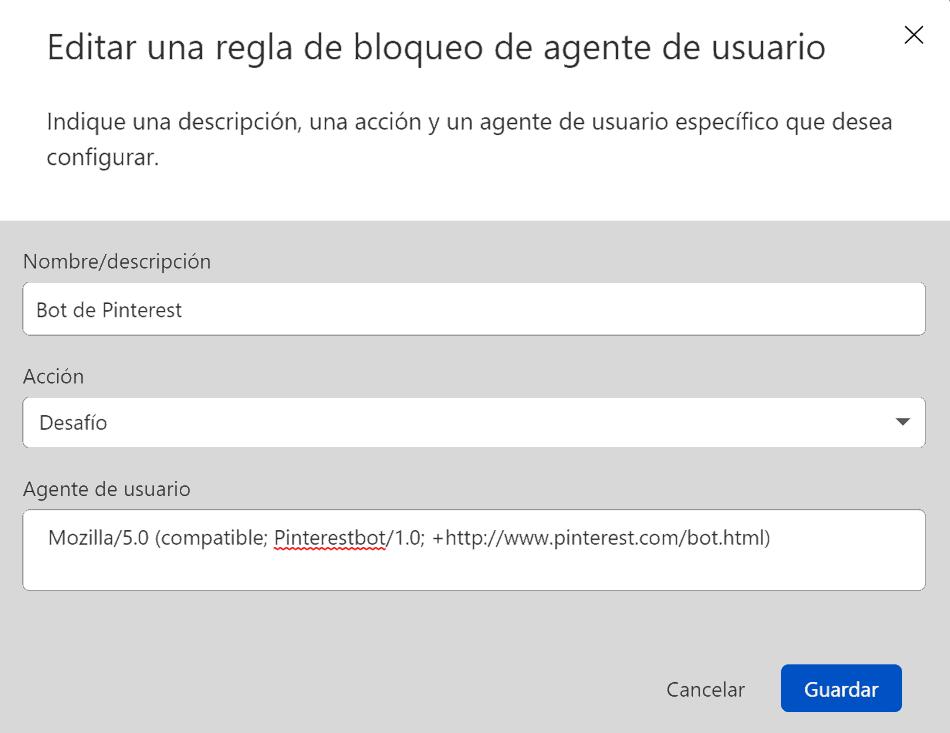 Regla de bloqueo de agente de usuario